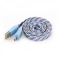 SBOX USB-103CF-BL MICRO USB színes flat kábel,1m,kék