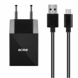 ACME CH211 1xUSB fali töltő, 2.4A+microUSB kábel